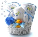 Blue Ducky Bath Time - Baby Gift Basket